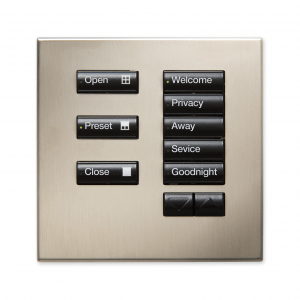 Engraved buttons for the Lutron shading solution